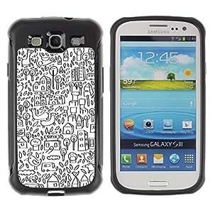 Suave TPU GEL Carcasa Funda Silicona Blando Estuche Caso de protección (para) Samsung Galaxy S3 III I9300 / CECELL Phone case / / Sketch Drawing City Pen White /