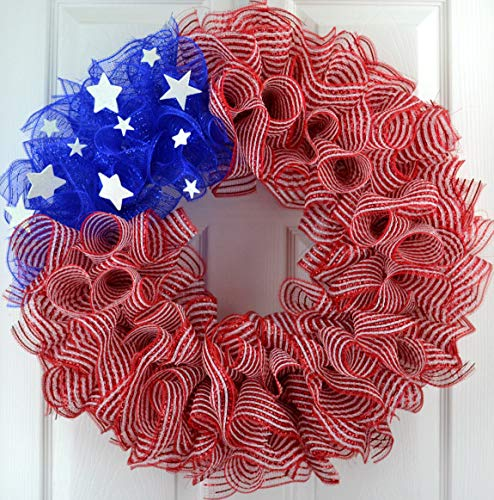 (Striped American Flag Fourth of July Mesh Door Wreath; red white)