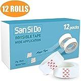 SanSiDo Tape,12-Rolls Write on Tape, Transparent Tape Refill, Invisible Tape,3/4 x 980 Inch,Transparent Tape,Tape Refill,Office Tapes, Tape Rolls,Tape Bulk, Office Supplies Tape,School Tape