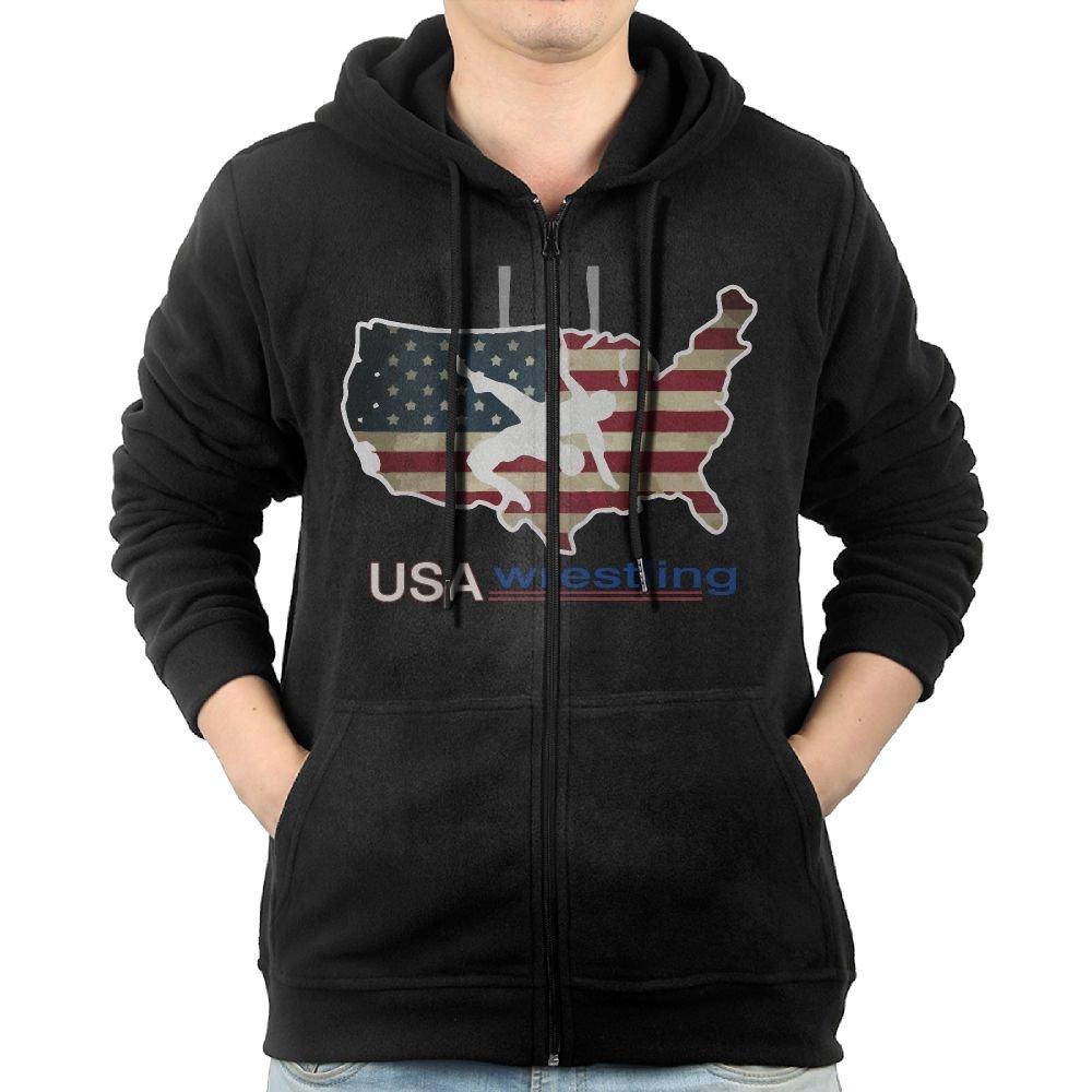 RZWD06 USA Wrestling Men's Sweater,Long Sleeve Zipper Hoody For Men by RZWD06