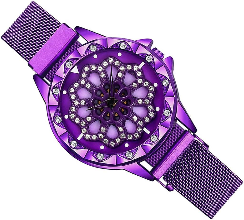 P Prettyia Reloj Lady Lucky con Esfera Giratoria De 360 Grados, Pulsera Magnética De Malla De Acero Inoxidable, Reloj De Cuarzo Resistente Al Agua para Mujeres