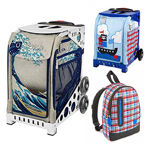 Zuca Great Wave Insert Bag in White Frame (Full-Sized Sport) with Mini Pirate Bag for Kids and Explorer Backpack by ZUCA