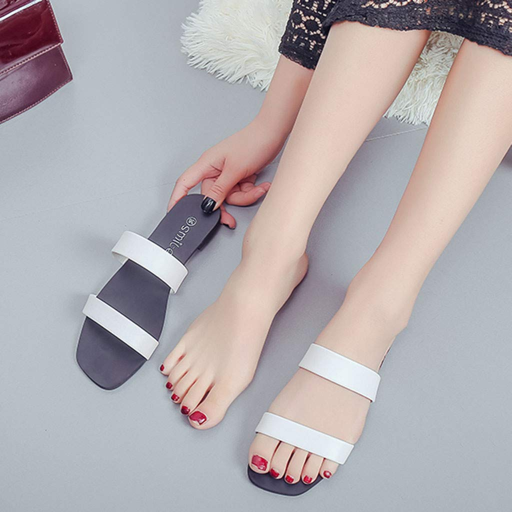 Sandals Womens Fashion Solid Round Toe Flat with Casual Loafers Sandal Shoes Pandaie Womens ..