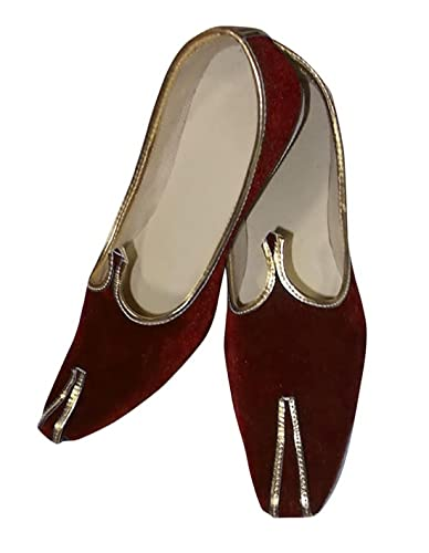 Mens Maroon Velvet Mojari Indian Wedding Designer Shoes JUTTI103