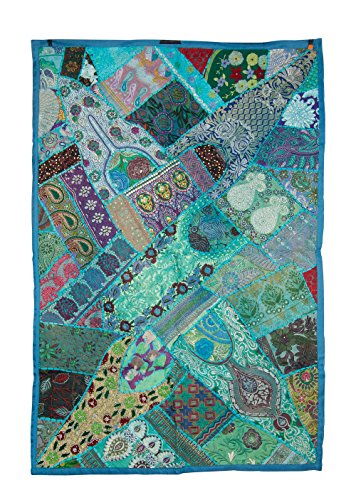 (Tribe Azure Fair Trade Floral Embroidered Colorful Cotton Tapestry Wall Hanging Decor Art Home Boho Bohemian Hippie (Turquoise Blue))