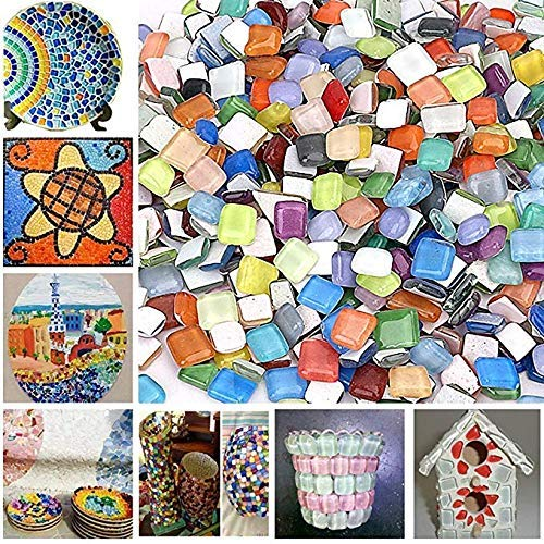 Bister 300piecs/16oz Crystal Glass Mosaic Tiles Stained Glass Assorted Colors and Shapes for Art Craft and Home decoration (Broken Mosaic Tile)