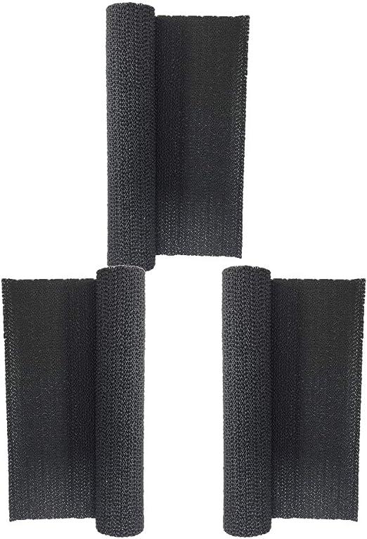 FLAMEER 3X Negro Antideslizante Cojín para Armario Estante Cocina de PVC Revestimiento No Adhesivo: Amazon.es: Hogar
