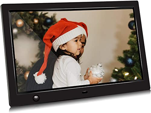 10 inch IPS Screen Digital Photo Frame, Digital Picture Frame with Motion Sensor, Timing Power On Off, Support 1080P HD Video Player, Background Music, MP3, Calendar, USB Drive, SD Card Jimwey