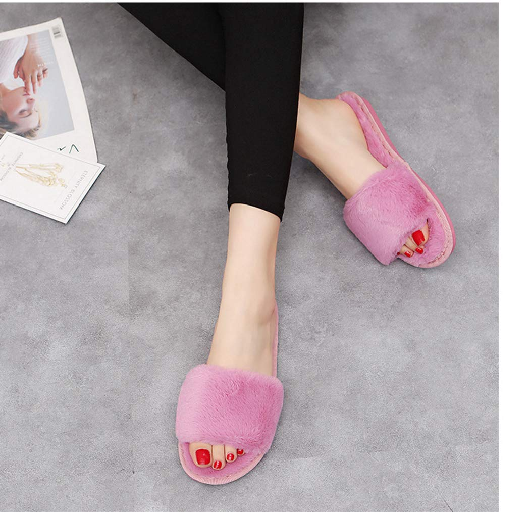 Nafanio Women Winter Slippers Fluffy Sandals House Flip Flops Female Home Slides Indoor Casual Shoes