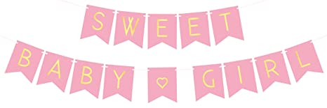 amazoncom baby shower decorations for girl pastel pink sweet baby girl banner gender reveal baby announcement toys games