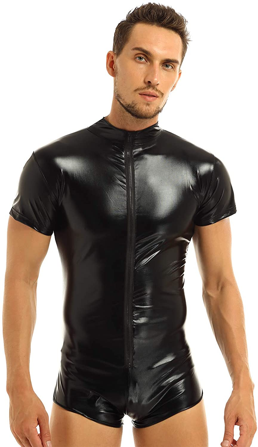 YONGHS Mens Lingerie One Piece Shiny Metallic Short Sleeves Zipper Leotard Bodysuit