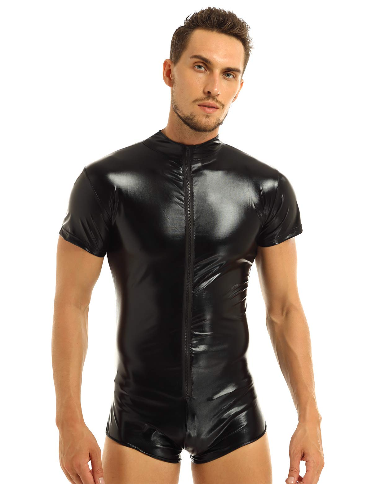 Msemis Mens Metallic Shiny Front Zipper Short Sleeve Leotard Bodysuit Boxer Briefs Jumpsuit Black Medium