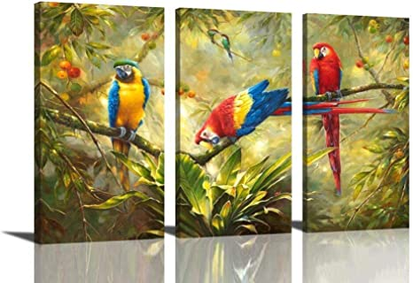 Artistic Parrot Bird Branches Wood Landscape Oil Painting Canvas Poster Wall Art
