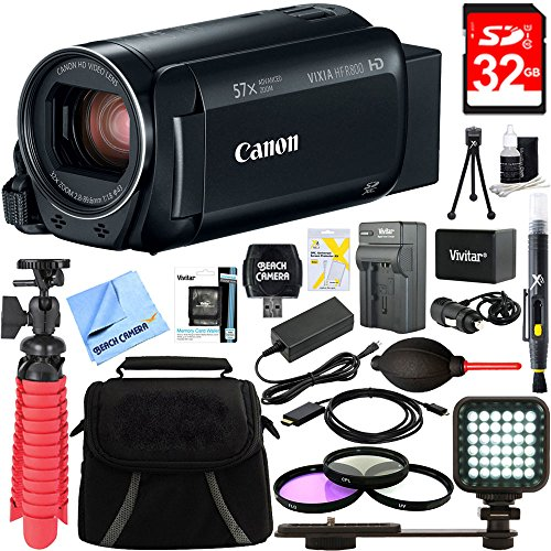 Canon VIXIA HF R800 Full HD Black Camcorder + 32GB Card and Accessory Bundle by Canon