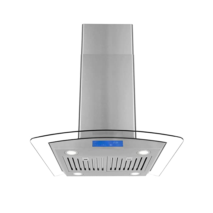 Cosmo COS-668ICS750 30-in Island-Mount Ceiling Range Hood 900-CFM Ductless Convertible Duct, Chimney Over Stove Vent Light, Permanent Filter, 3 Speed Exhaust Fan Timer Stainless Steel