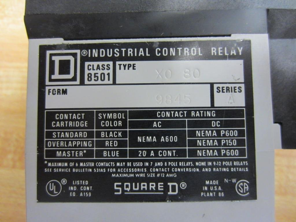 SQUARE D 8501X080 Control Relay: Coaxial Relays: Amazon.com: Industrial & Scientific