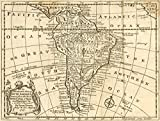 Historic 1757 Map | An accurate map of South America : drawn from the best modern maps and charts, and regulated by astron'l. observatns. | America