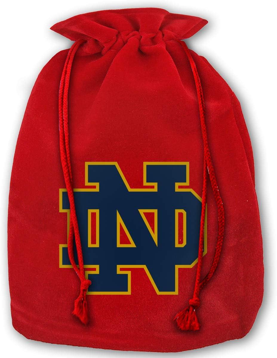 Virginile University of Notre Dame Nd Logo Santa Sack Christmas Bag Large Gold Velvet Santa Bag Halloween Cosplay Gifts with Drawstrings Red