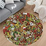 Nalahome Modern Flannel Microfiber Non-Slip Machine Washable Round Area Rug-Casino Decorations Doodles Style Art Bingo Excitement Checkers King Tambourine Vegas area rugs Home Decor-Round 79''