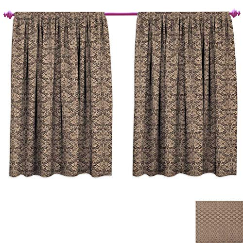(homefeel Antique Patterned Drape for Glass Door Venetian Vintage Flowers with Swirling Lines Renaissance Revival Curvy Tile Customized Curtains W55 x L63 Brown and Cocoa)
