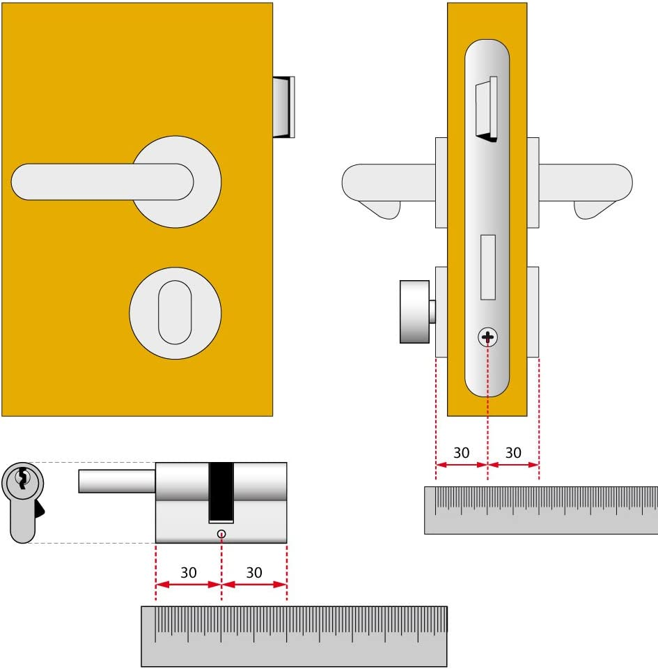 0A3S107012 Cilindro de cerradura de perfil europeo plateado Lat/ón Cisa Astral