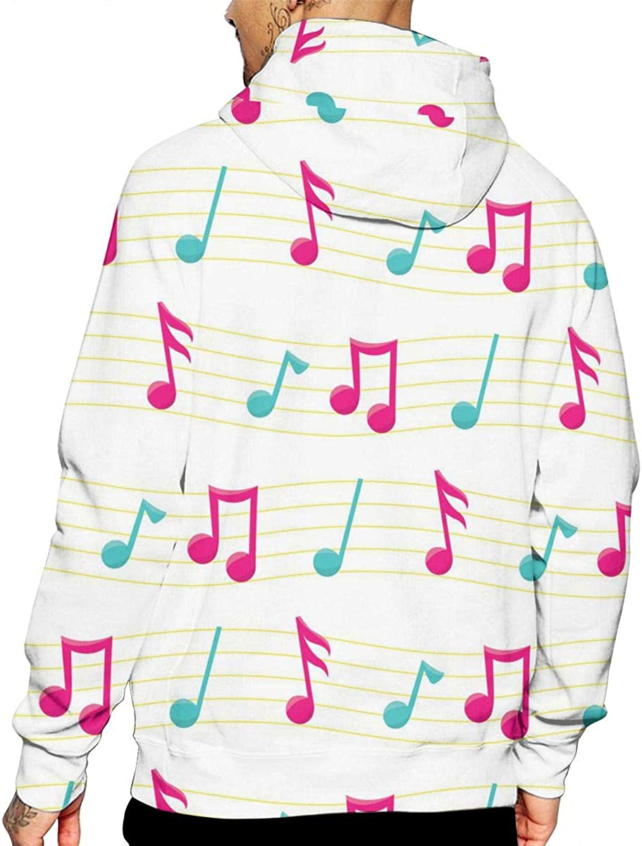 Music Notes T-Shirt Hooded with A Pocket Rope Hat Customization Fashion Novelty 3D Mens