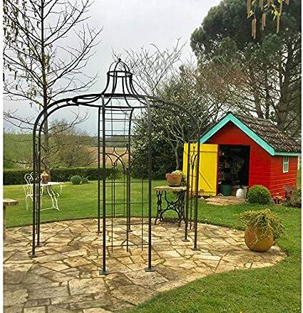 Gloriette Princess Small cenador en hierro forjado pérgola de jardín refugio redondo de acero pintura epoxy marrón martillado 240 x 240 x 300 cm: Amazon.es: Jardín