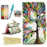 Note 3 Case,Galaxy Note 3 Case - Mavis's Diary Special Painted Series Colorful Retro Tree Pattern PU Leather Wallet Type with Magnetic Clasp Credit Card Holder Design Folio Cover Durable Stand Case for Samsung Galaxy Note 3 N9000 N9005 N9006 with Soft Clean Cloth(One Tree Case&One Bling Cute Blue Owl Dust Plug&One Blue Feather Stylus Pen&One HD Screen Protector)