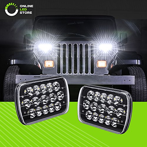 2pc Universal 45W 5x7 7x6 LED Headlight with Black Housing [Plug & Play] [Energy Efficient] [Rugged] - Sealed Beam Square/Rectangular Headlight (High/Low Beams: 6/15 LEDs)