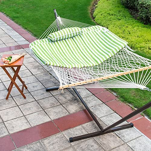 Lazy Daze Hammocks 12 Feet Space Saving Steel Hammock Stand with Cotton Rope Hammock Combo, Includes Quilted Polyester Hammock Pad, Pillow, Mag Bag and Cup Holder, Green Stripe