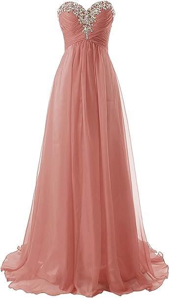 Micbridal Lang Chiffon Herzformig Ballkleid Abendkleid Mit Schleppe Blush 46 Amazon De Bekleidung