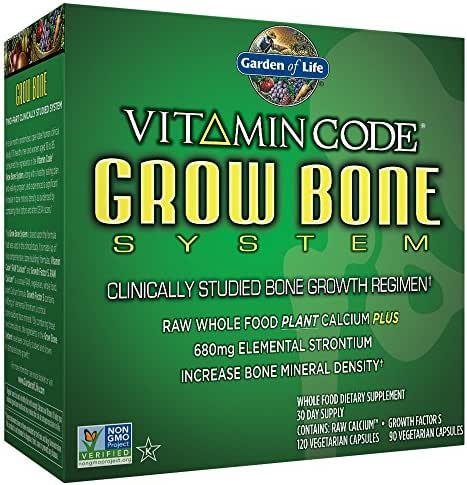Garden of Life Raw Calcium Supplement - Vitamin Code Grow Bone System Whole Food Vitamin with Strontium, Vegetarian