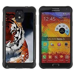 Hybrid Anti-Shock Defend Case for Samsung Galaxy Note 3 / Ferocious Snow Tiger