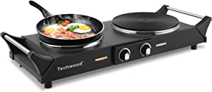 """Techwood Hot Plate Portable Electric Stove 1800W Countertop Double Burner with Adjustable Temperature & Stay Cool Handles, 7.5"""" Cooktop for Dorm Office/Home/Camp, Compatible for All Cookwares"""