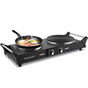 Techwood Hot Plate Double Burner Electric Heating plate Countertop Burner 1300W & 500W Portable Cooktop Cast-Iron Burner Stay-Cool Handles Adjustable Temperature Control Easy To Clean