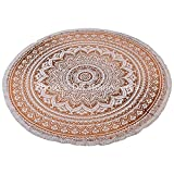 DK Homewares Brown White Round Roundie Mandala Throw 72 Inches Printed With 2 Inch Lace Fringes Yoga Rug Meditation Mat Floral Round Wall Tapestry Hanging By