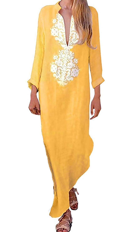 Vestidos Mujer Casual Vestido de Verano Largo Maxi Falda Cuello en ...