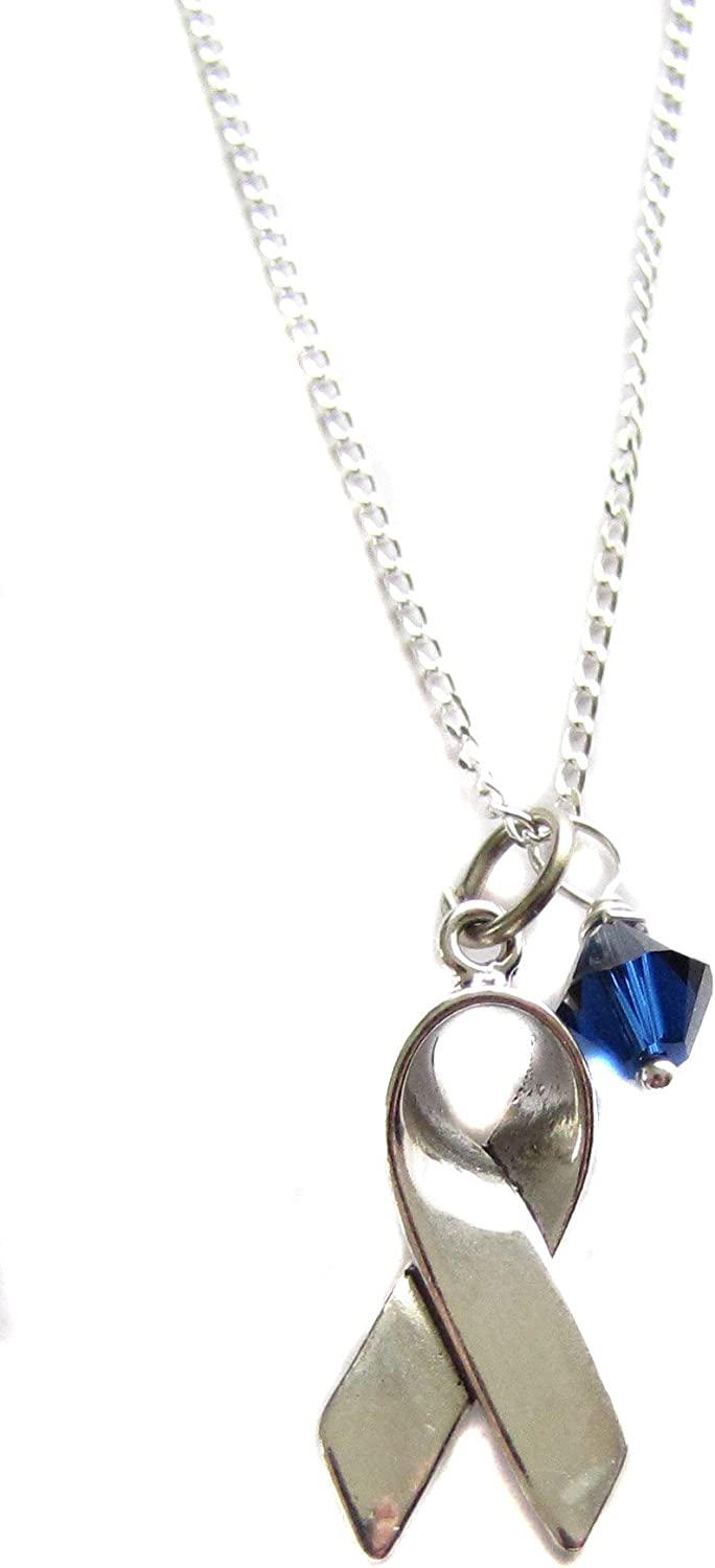 Amazon Com Heart Projects Sterling Silver Colon Cancer Awareness Ribbon Charm Dark Blue Swarovski 18 Necklace March Awareness Month Jewelry
