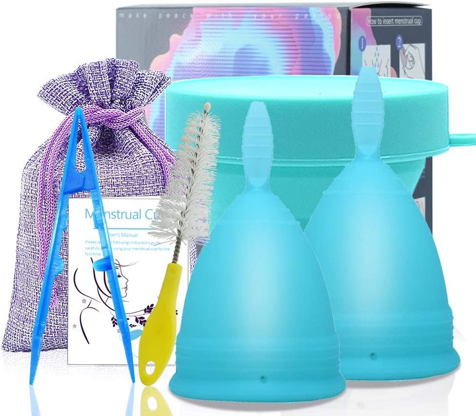 SPEQUIX 1 PCS Tamaño S Copa menstrual y 1 PCS Juego de taza esterilizante para mujeres Copas de higiene menstrual con copa plegable plegable de ...
