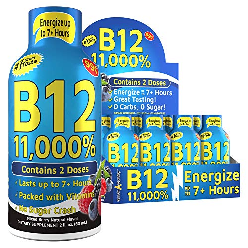 (12 Pack) Grade A Quality™ Energy Shots, B12 Mixed Berry, Energy Lasts Up to 7+ Hours, Tastes Great, Vitamins Supplements, Energy Drink, 12 Pack