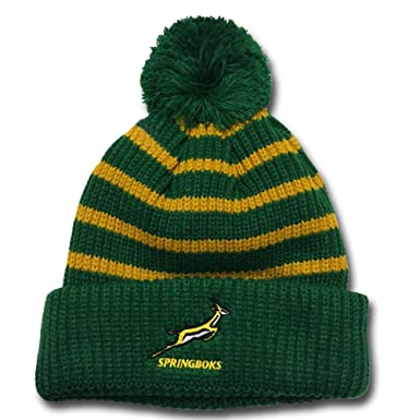 2afd657e0af Official South Africa springboks Rugby Bobble hat  Green   Amazon.co.uk   Clothing