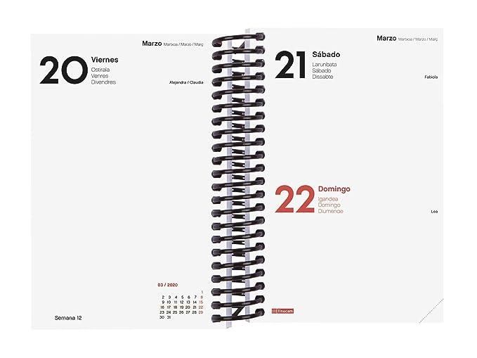 Amazon.com : Finocam - Agenda 2020 1 Day Page Spiral Free ...