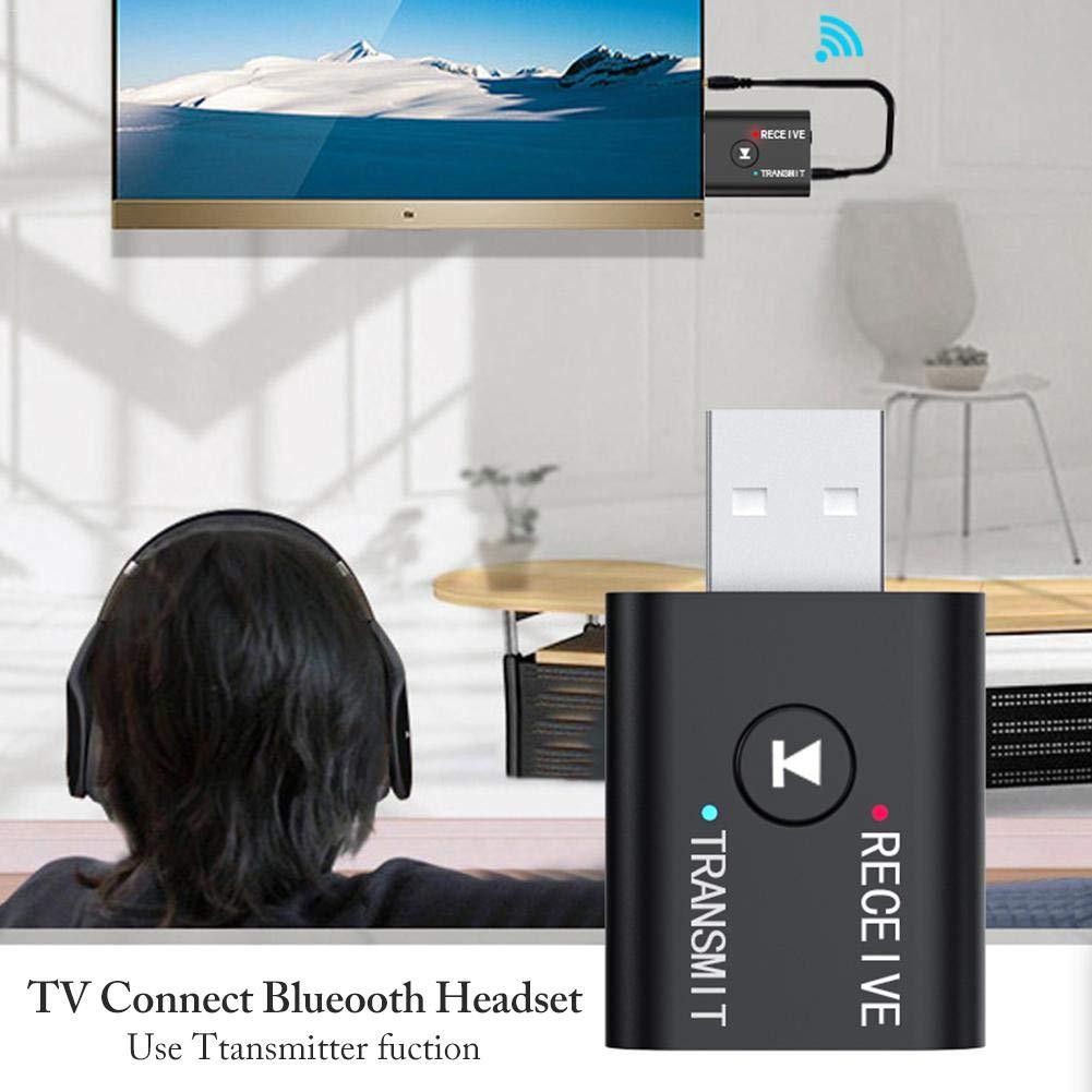 Zexa Adaptador de transmisor Bluetooth USB 5.0 Transmisor de Audio Receptor Bluetooth Mini Adaptador inal/ámbrico Bluetooth Dongle est/éreo para computadora PC port/átil