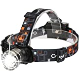 CrazyFire LED Camping Headlamp,1600 Lumens XML-T6 CREE LED Headlamp,Zoomable 3 Modes Work Light Runners Headlamp Torch Flashlight,AA Battery Headlamp for Outdoor Reading,Hiking,Camping,Running, Jogging,Climbing,Fishing,Boating(Grey)