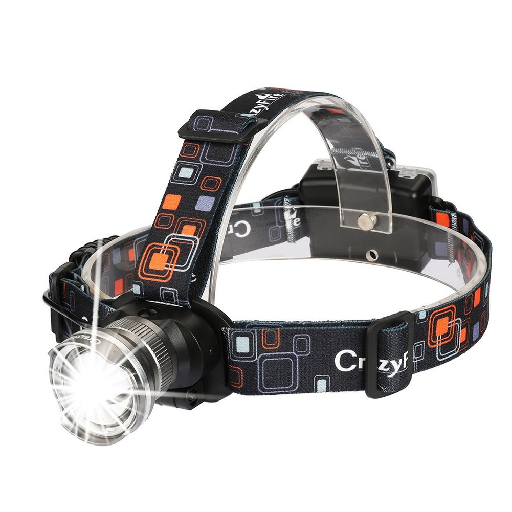 CrazyFire LED Headlamp Headlight Zoomable 3 Modes Runners Headlamps Led for Hiking,Camping,Reading,Fishing,Hunting,Outdoor Sports(Grey)