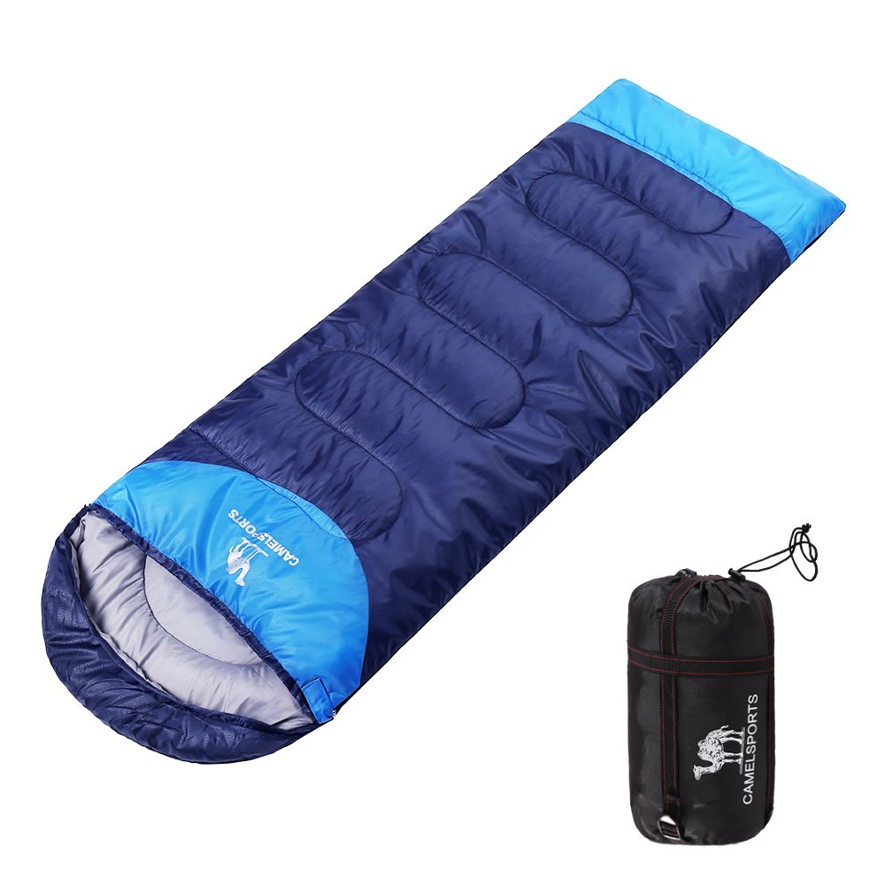 Camel Outdoor Camping Sleeping Bag Lightweight Portable Waterproof Perfect Traveling Hiking Activities 2.43 lb Color Navy Blue(left pack)