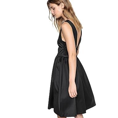 8301c1201b86 La Redoute Womens Satin Skater Dress with Low-Cut Back Black Size US ...
