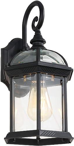 W111A Outdoor Light Fixtures Wall Mount,Medium Wall Lantern,Metal Black Finish