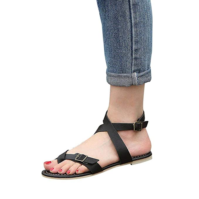 84bffa98313b9 Amazon.com: Claystyle Womens Flat Sandals Open Toe Lace Up Criss ...