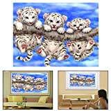 OFKP 5D DIY Diamond Painting Embroidery Rhinestone Pasted Cross Stitch Craft Home Wall Decor (Tigers And Tree 440x340mm(LxW))